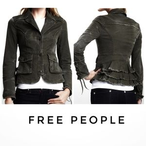 Free People | Distressed Ruffle Military Jacket
